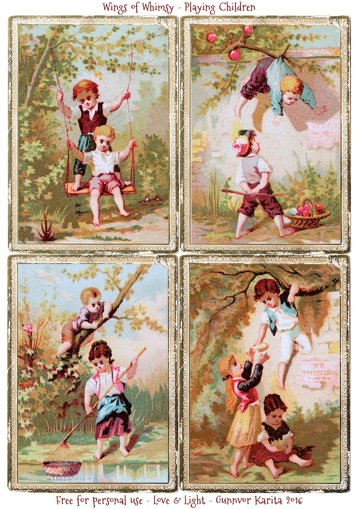 Wings of Whimsy: Playing Summer Children #freebie #printable #vintage #summer #children