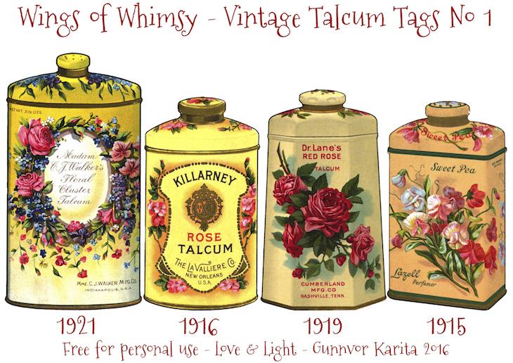 Wings of Whimsy: Vintage Talcum Tags No 1 #vintage #printable #freebie #ephemera #talcum #tags