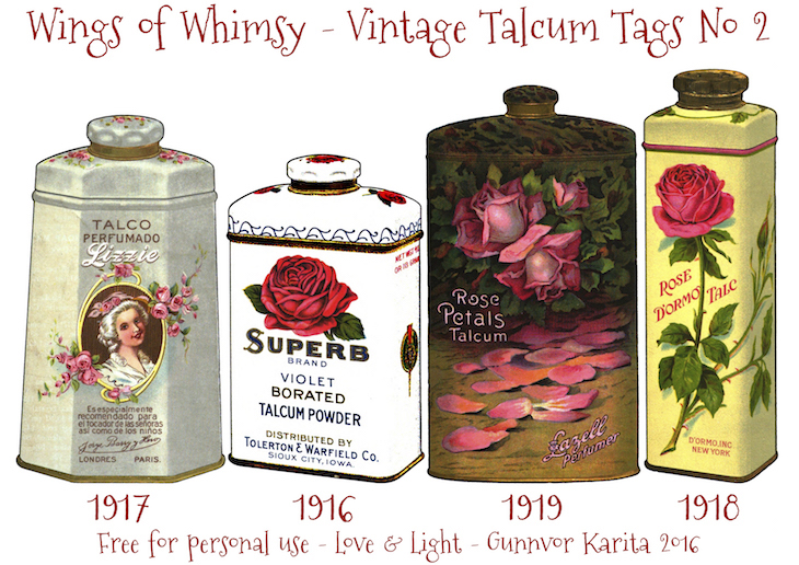 Wings of Whimsy: Vintage Talcum Tags No 2 #vintage #printable #freebie #ephemera #talcum #tags
