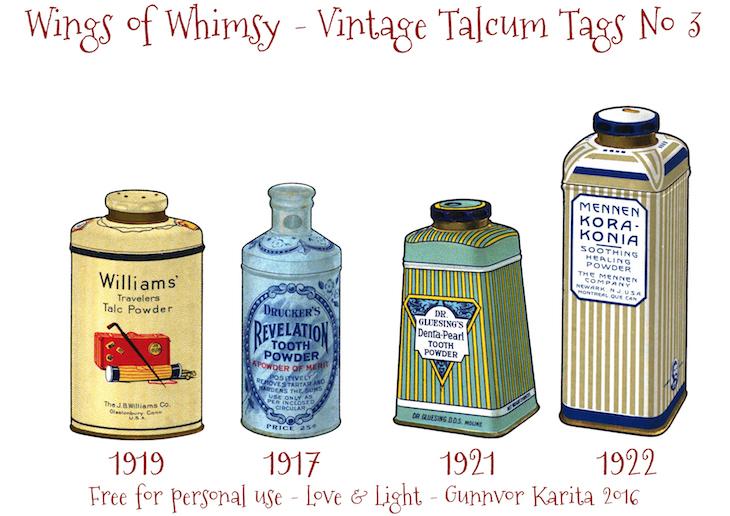 Wings of Whimsy: Vintage Talcum Tags No 3 #vintage #printable #freebie #ephemera #talcum #tags