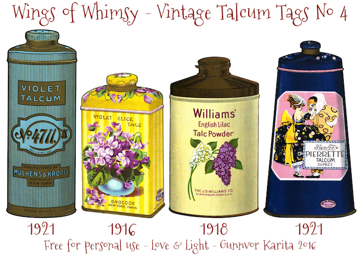 Wings of Whimsy: Vintage Talcum Tags No 4 #vintage #printable #freebie #ephemera #talcum #tags