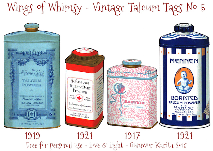Wings of Whimsy: Vintage Talcum Tags No 5 #vintage #printable #freebie #ephemera #talcum #tags