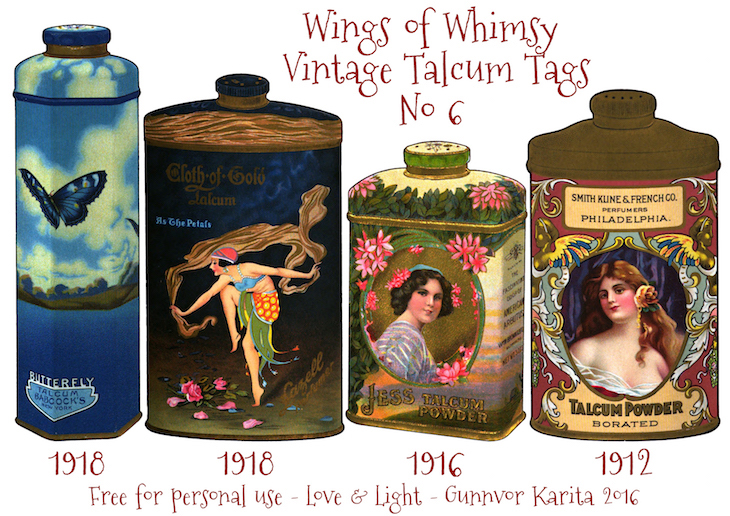 Wings of Whimsy: Vintage Talcum Tags No 6 #vintage #printable #freebie #ephemera #talcum #tags