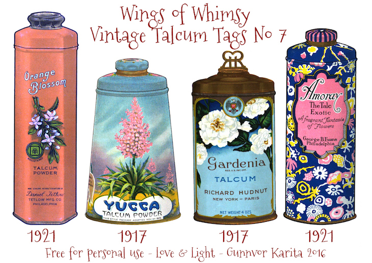 Wings of Whimsy: Vintage Talcum Tags No 7 #vintage #printable #freebie #ephemera #talcum #tags