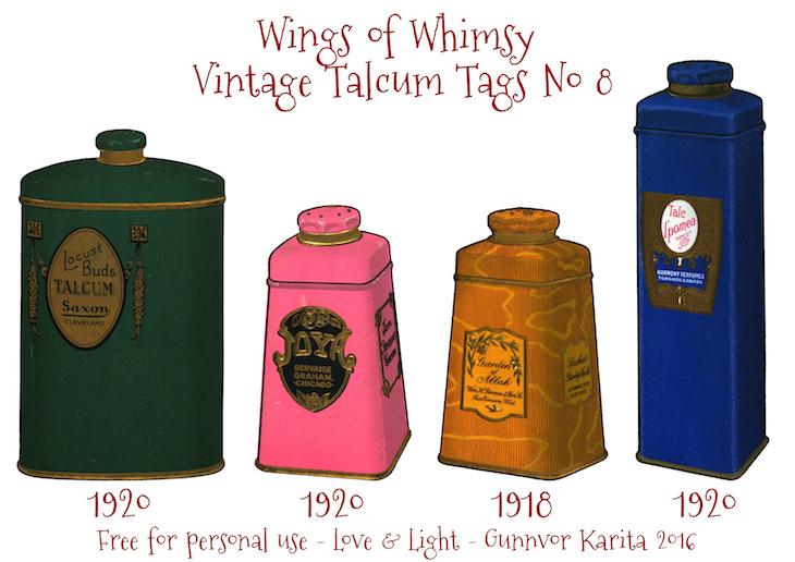 Wings of Whimsy: Vintage Talcum Tags No 8 #vintage #printable #freebie #ephemera #talcum #tags
