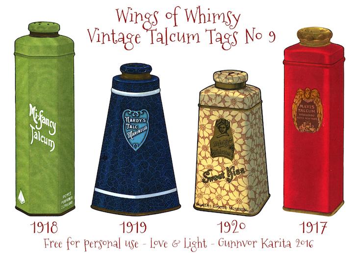 Wings of Whimsy: Vintage Talcum Tags No 9 #vintage #printable #freebie #ephemera #talcum #tags
