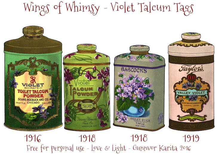 Wings of Whimsy: Vintage Violet Talcum Tags #vintage #printable #freebie #ephemera #talcum #tags