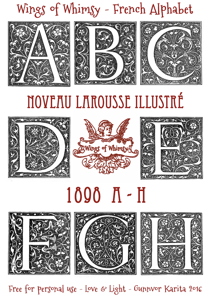 Wings of Whimsy: Noveau Larousse Illustré - A-H #vintage #french #dictionary #alphabet #capital #initial