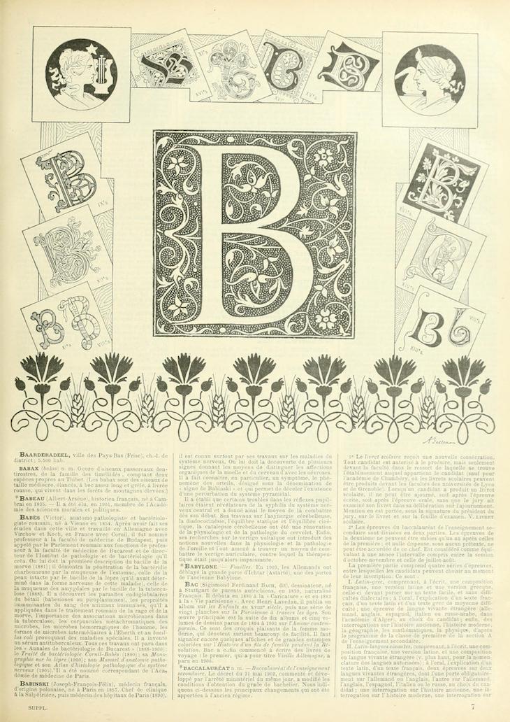 Wings of Whimsy: Noveau Larousse Illustré - B #vintage #french #dictionary #alphabet #capital #initial