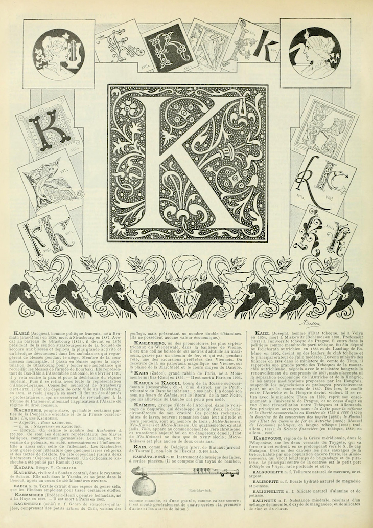 Wings of Whimsy: Noveau Larousse Illustré - K #vintage #french #dictionary #alphabet #capital #initial-kopi