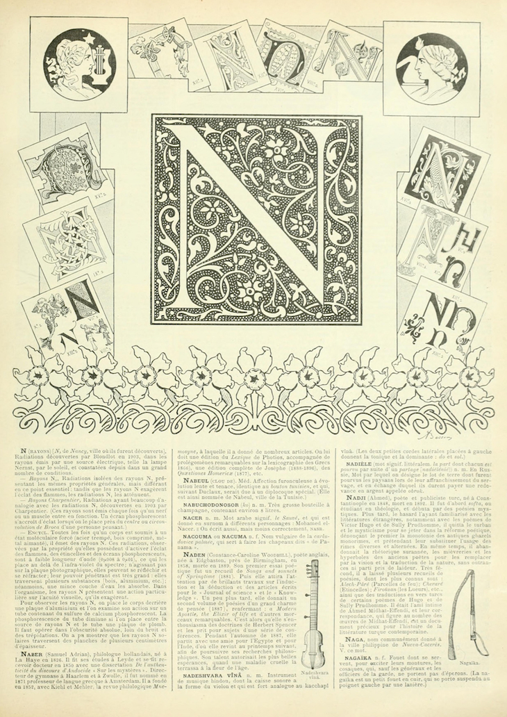 Wings of Whimsy: Noveau Larousse Illustré - N #vintage #french #dictionary #alphabet #capital #initial-kopi