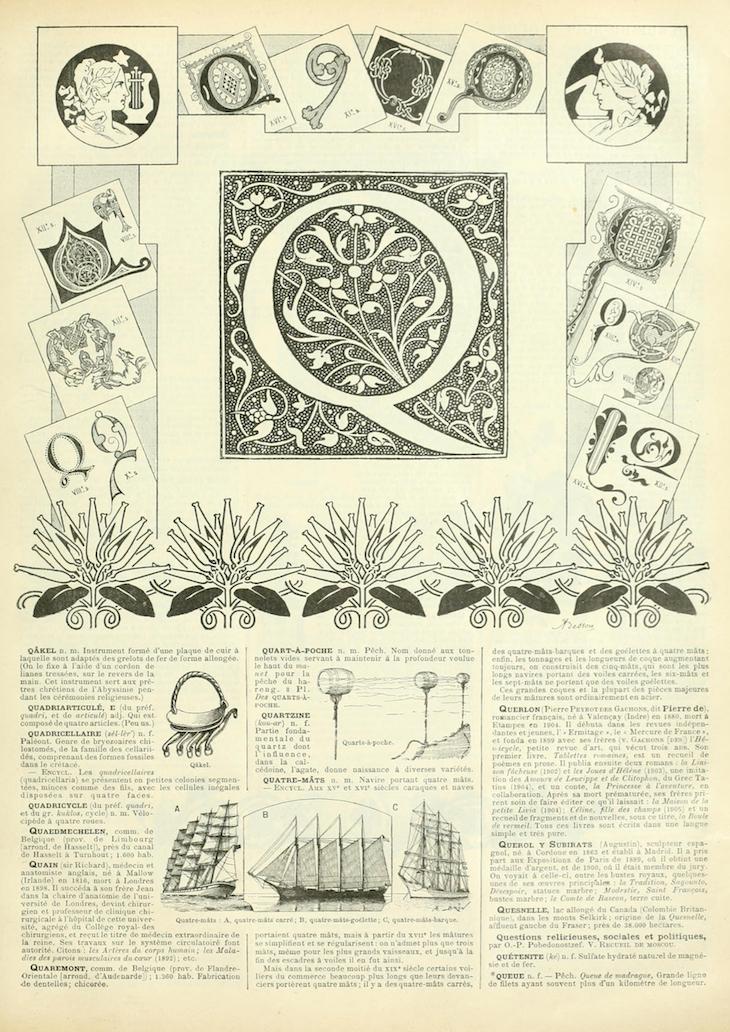 Wings of Whimsy: Noveau Larousse Illustré - Q #vintage #french #dictionary #alphabet #capital #initial