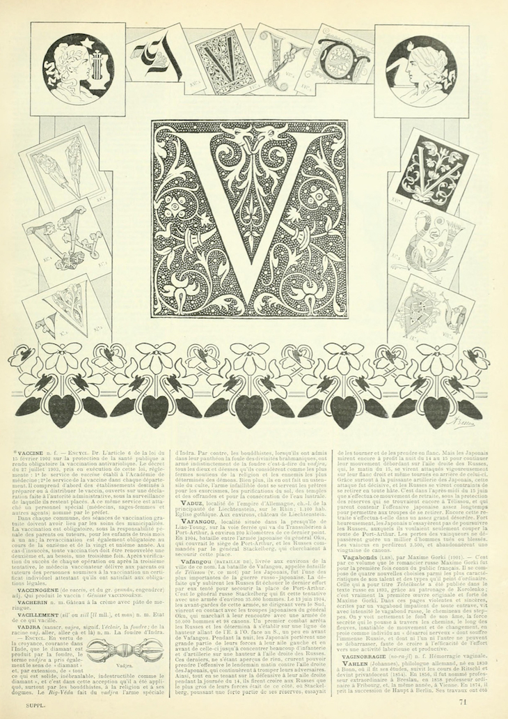 Wings of Whimsy: Noveau Larousse Illustré - V #vintage #french #dictionary #alphabet #capital #initial