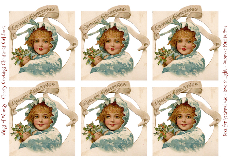 Wings of Whimsy: Cheery Greetings Chrismas Girl Collage Sheet #vintage #christmas #freebie #girl #png