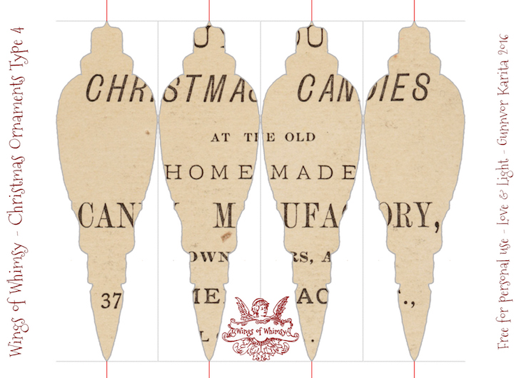 Wings of Whimsy: Christmas Ornament Type 4 #vintage #ephemera #freebie #christmas #ornament