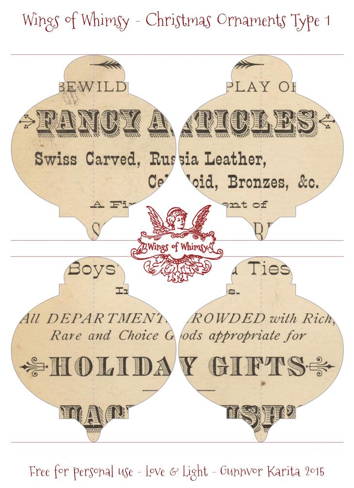 Wings of Whimsy: Christmas Ornament Type 1 #vintage #ephemera #freebie #christmas #ornament-kopi
