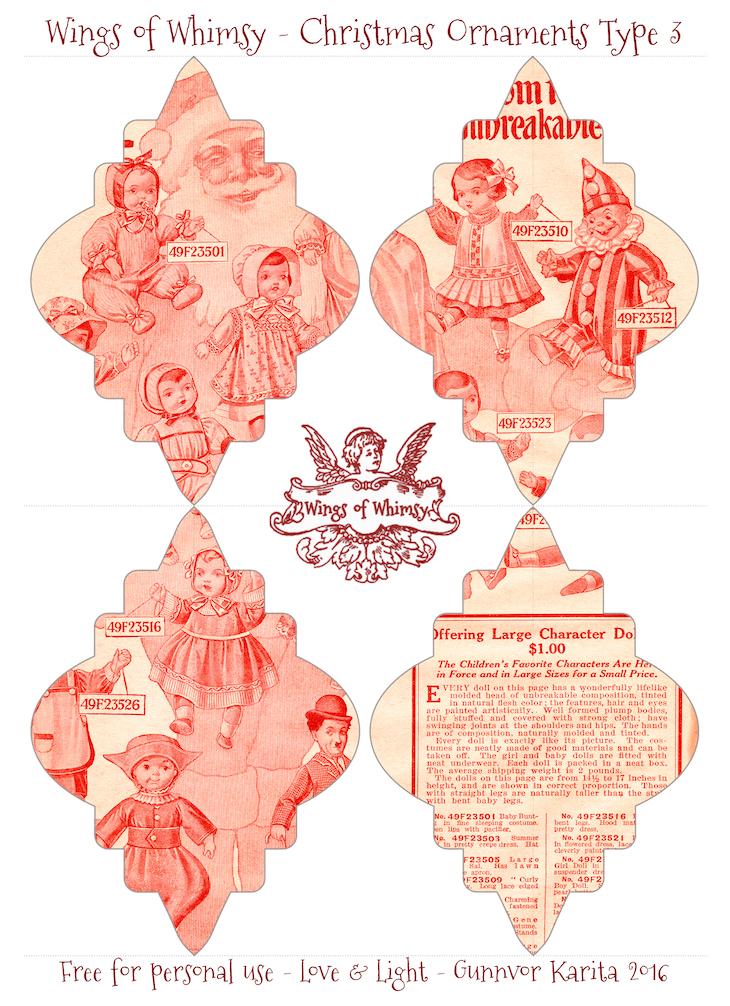 Wings of Whimsy: Christmas Ornament Type 3 #vintage #ephemera #freebie #christmas #ornament