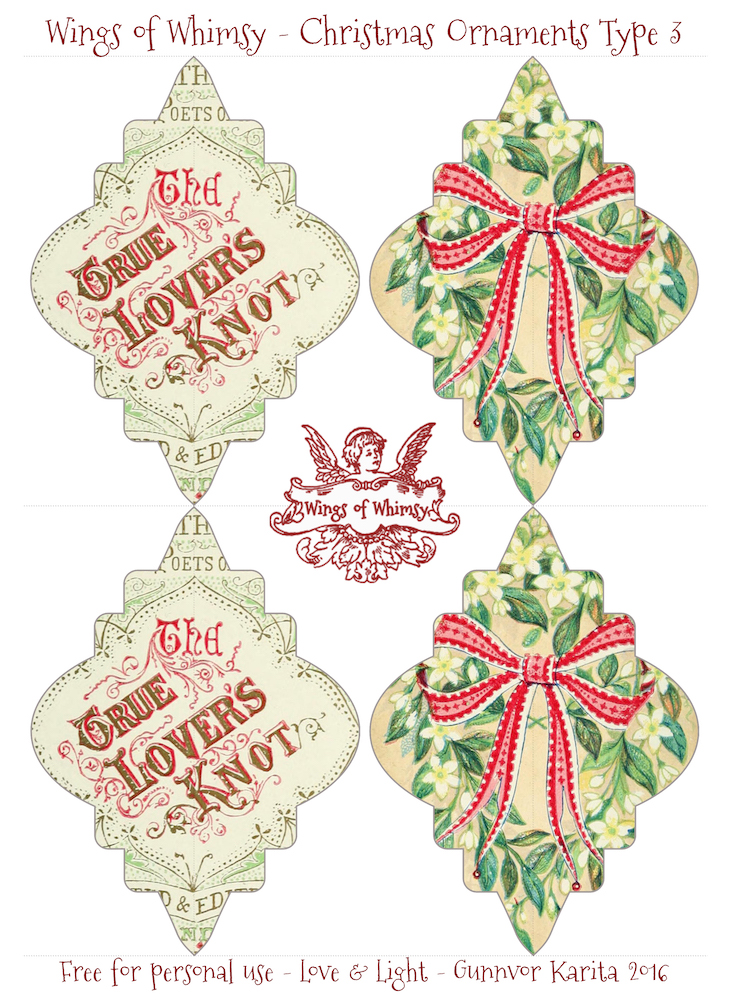 Wings of Whimsy: Christmas Ornament Type 3 #vintage #ephemera #freebie #christmas #ornament