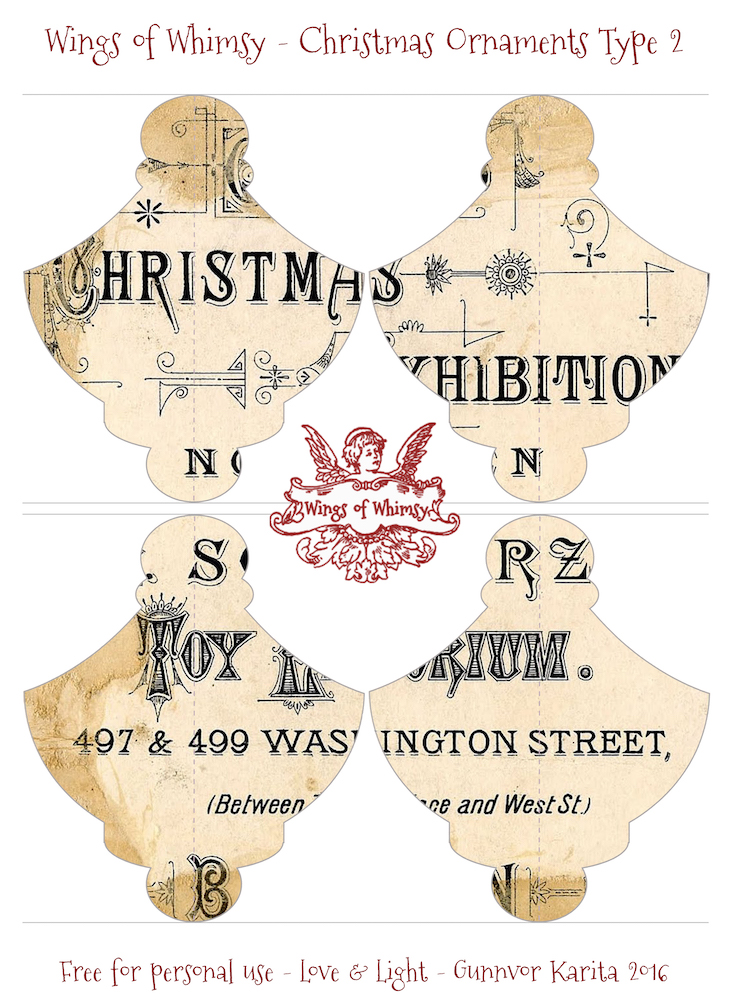 Wings of Whimsy: Christmas Ornament Type 2 #vintage #ephemera #freebie #christmas #ornament