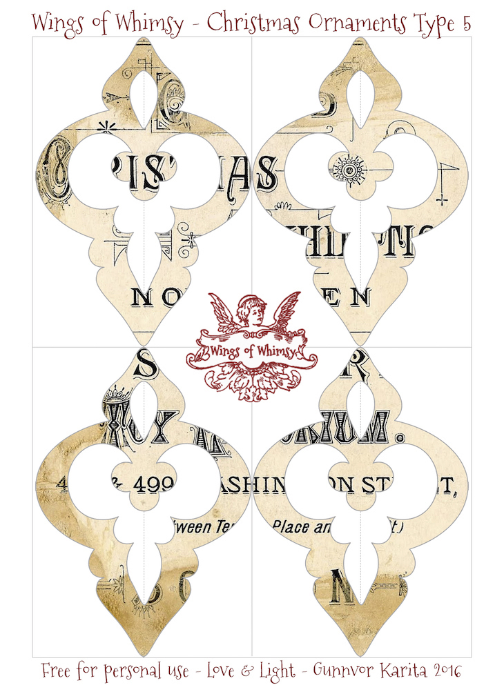 Wings of Whimsy: Christmas Ornament Type 5 #vintage #ephemera #freebie #christmas #ornament
