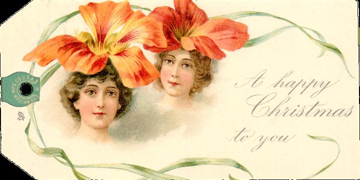 Wings of Whimsy: Christmas Ladies 1902 - Frances Brundage Tags #freebie #ephemera #printable #christmas #ladies #brundage