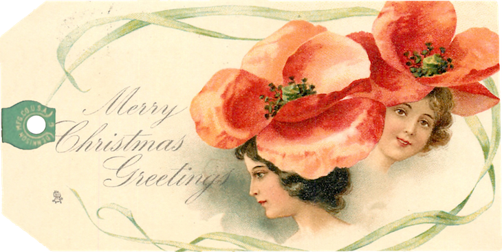 Wings of Whimsy: Christmas Ladies 1902 - Frances Brundage Tags #freebie #ephemera #printable #christmas #ladies #brundage