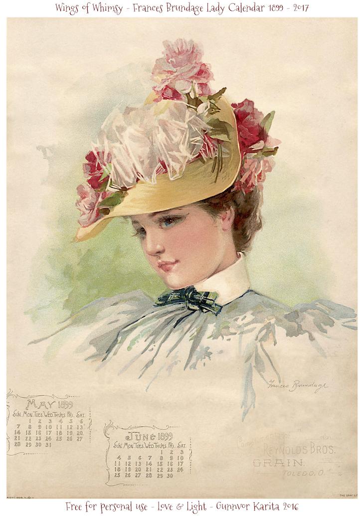 May Calendar Girl Book Free : Calendar sunday frances brundage ladies wings of