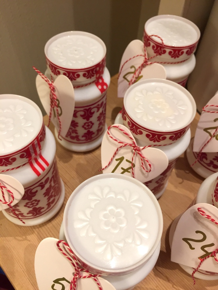 Wings of Whimsy: Vintage Milk Glass Advent Calendar #thrifted #vintage #advent #calendar