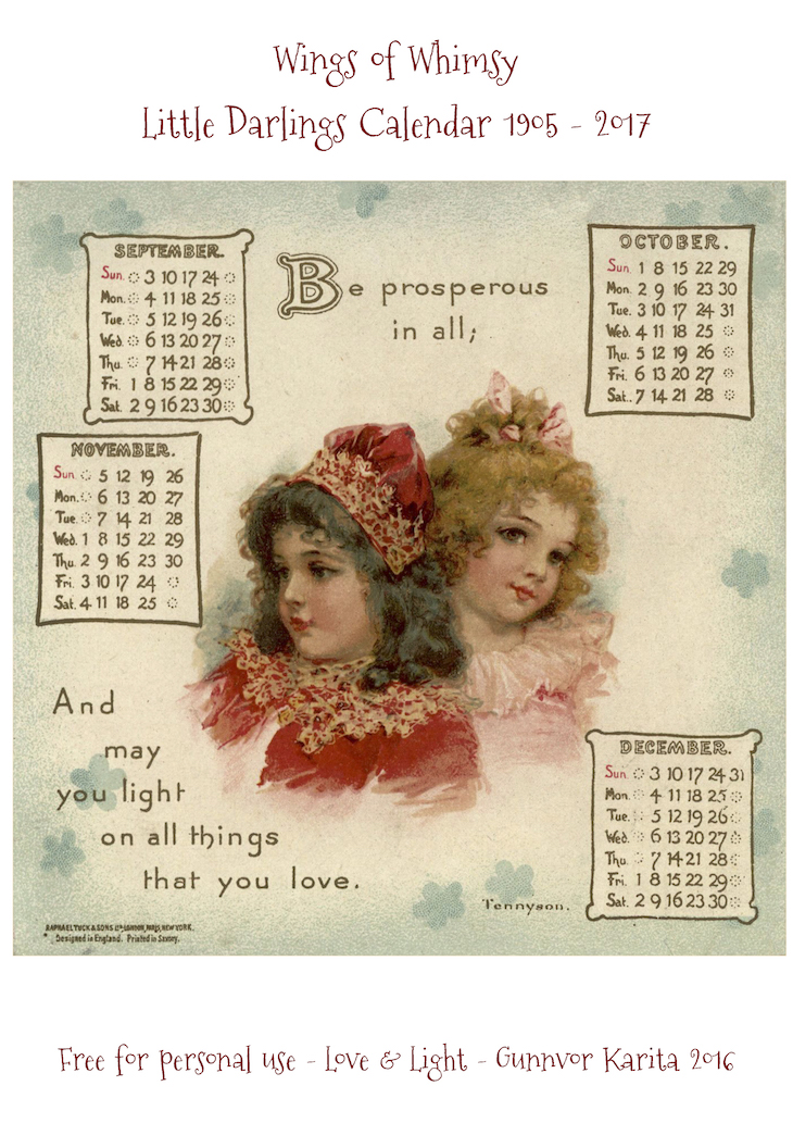 Wings of Whimsy: Little Darlings Calendar 1905-2017 #freebie #printable #vintage #ephemera #calendar