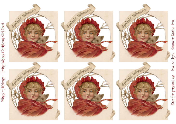 Wings of Whimsy: Loving Wishes Chrismas Girl Collage Sheet #vintage #christmas #freebie #girl #sheet