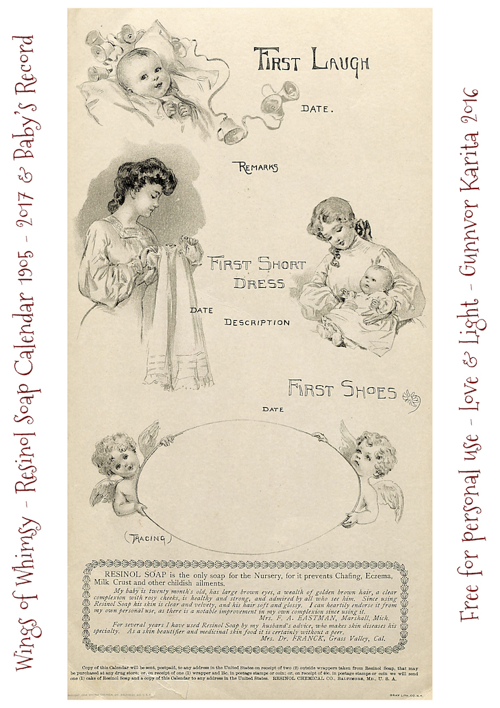 Wings of Whimsy: Resinol Soap Calendar 1905-2017 & Baby's Record #freebie #printable #vintage #ephemera #calendar-kopi
