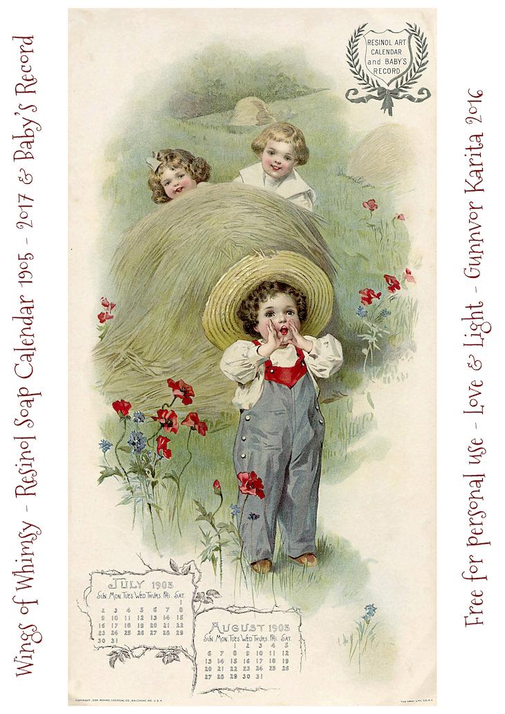 Calendar Sunday Resinol Soap Calendar 1905 And Baby S