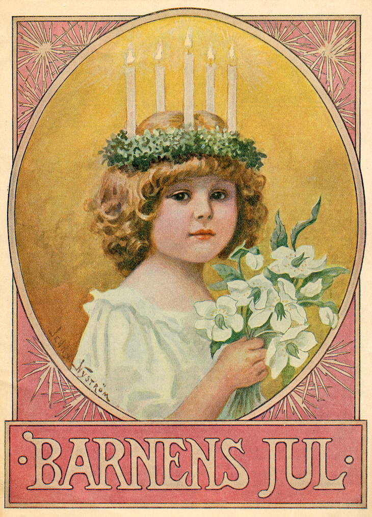 Wings of Whimsy: December 13th - St. Lucy's Day by Jenny Nyström #vintage #ephemera #freebie #printable #luciadagen #jenny #nystrom #nystöm #christmas