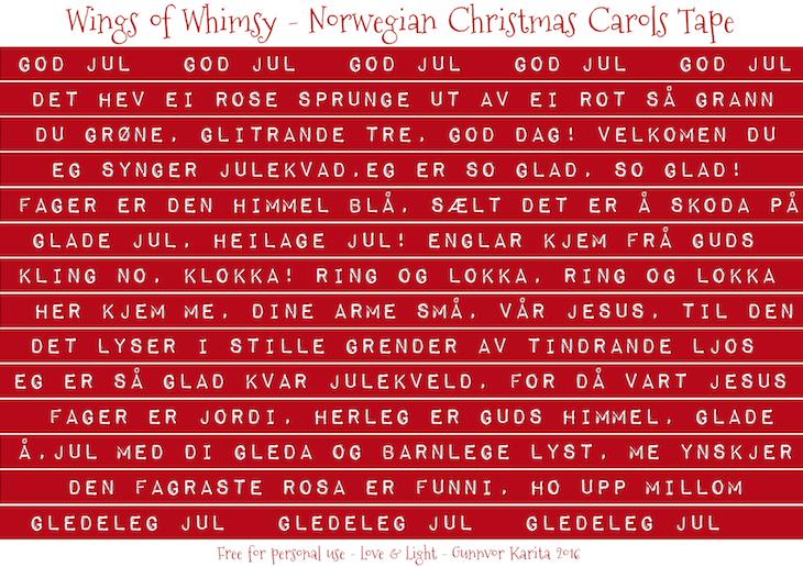 Wings of Whimsy: Christmas Carols Tape Norwegian #freebie #vintage #ephemera #printable #christmas #carols