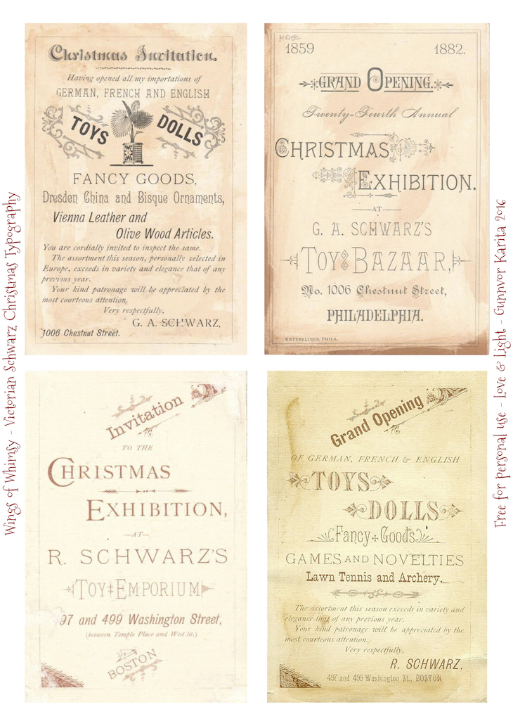 Wings of Whimsy: Victorian Schwartz Typography #vintage #freebie #printable #ephemera #typography #christmas #dolls #toys #exhibition