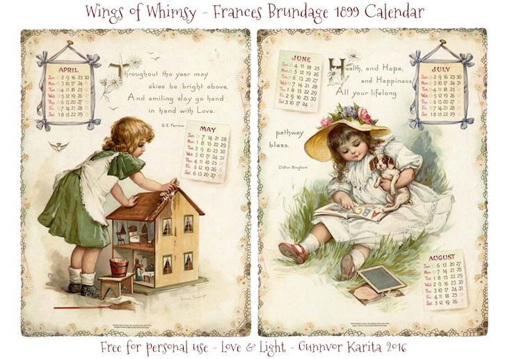 Wings of Whimsy: Frances Brundage 1899 Calendar #vintage #ephemera #freebie #printable #calendar #frances #brundage