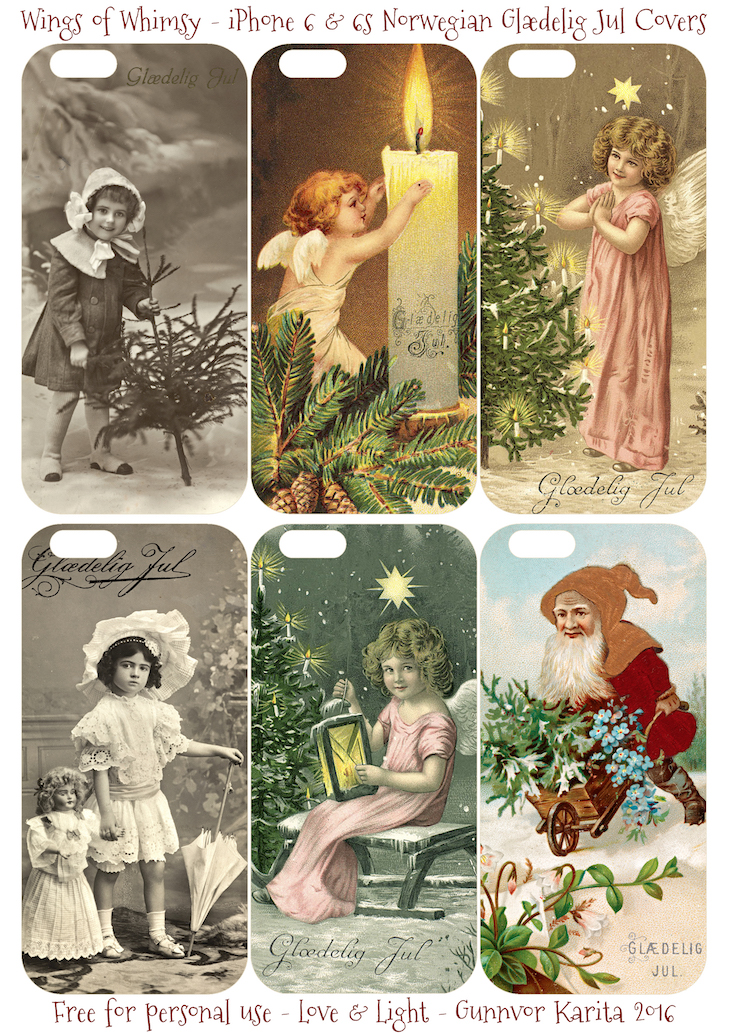 Wings of Whimsy: iPhone 6 Norwegian Glædelig Jul Cases #vintage #ephemera #freebie #pintable #norwegian #jul #christmas