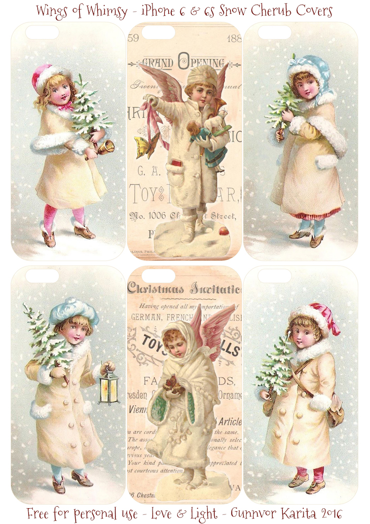 Wings of Whimsy: iPhone 6 Snow Cherub Cases #vintage #ephemera #freebie #pintable #christmas