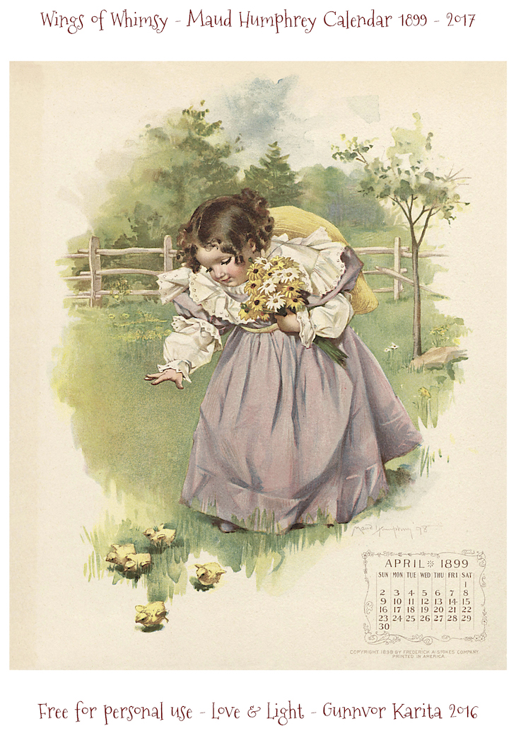 Wings of Whimsy: Maud Humphrey Calendar 1899 #vintage #ephemera #freebie #printable #calendar #maud #humphrey