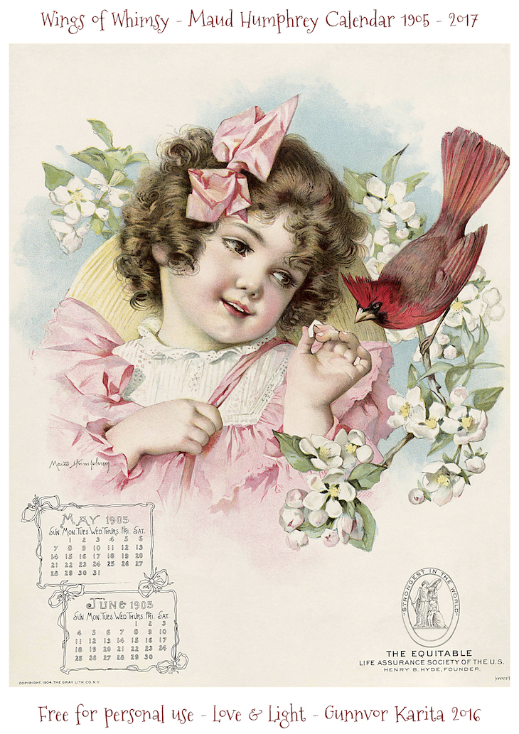 Wings of Whimsy: Maud Humphrey Calendar 1905 #vintage #ephemera #freebie #printable #calendar #maud #humphrey-june_wingsofwhimsy-kopi