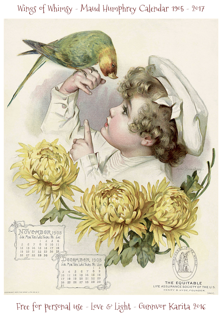 Wings of Whimsy: Maud Humphrey Calendar 1905 #vintage #ephemera #freebie #printable #calendar #maud #humphrey