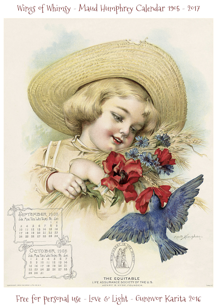 Wings of Whimsy: Maud Humphrey Calendar 1905 #vintage #ephemera #freebie #printable #calendar #maud #humphrey-oct_wingsofwhimsy-kopi