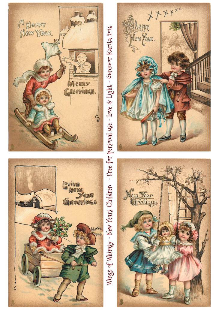 Wings of Whimsy: New Year's Children #vintage #ephemera #freebie #printable #new #year #children