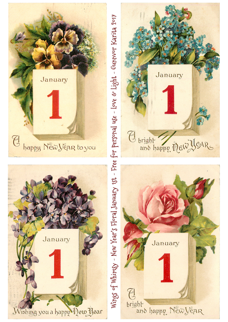Wings of Whimsy: New Year's Floral January 1st #vintage #ephemera #freebie #printable #new #year #floral #january #1st