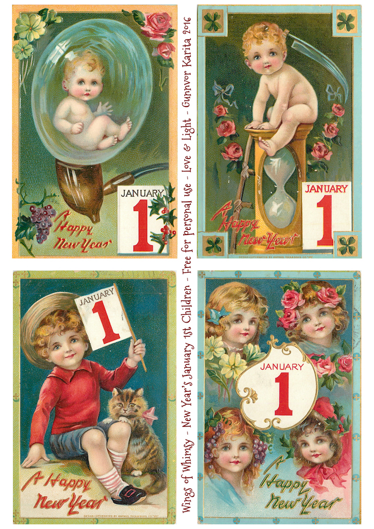 Wings of Whimsy: New Year's Children by Sophia May Bowley #vintage #ephemera #freebie #printable #new #year #children #january #1st