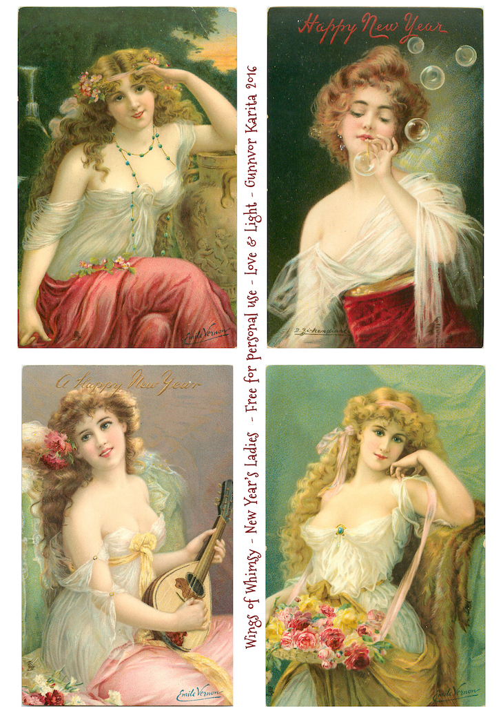 Wings of Whimsy: New Year's Ladies #vintage #ephemera #freebie #printable #new #year #ladies