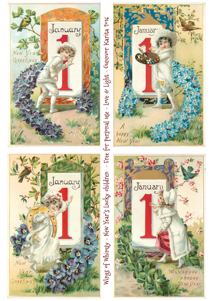 Wings of Whimsy: New Year's Lucky Children #vintage #ephemera #freebie #printable #new #year #children #floral #january #1st