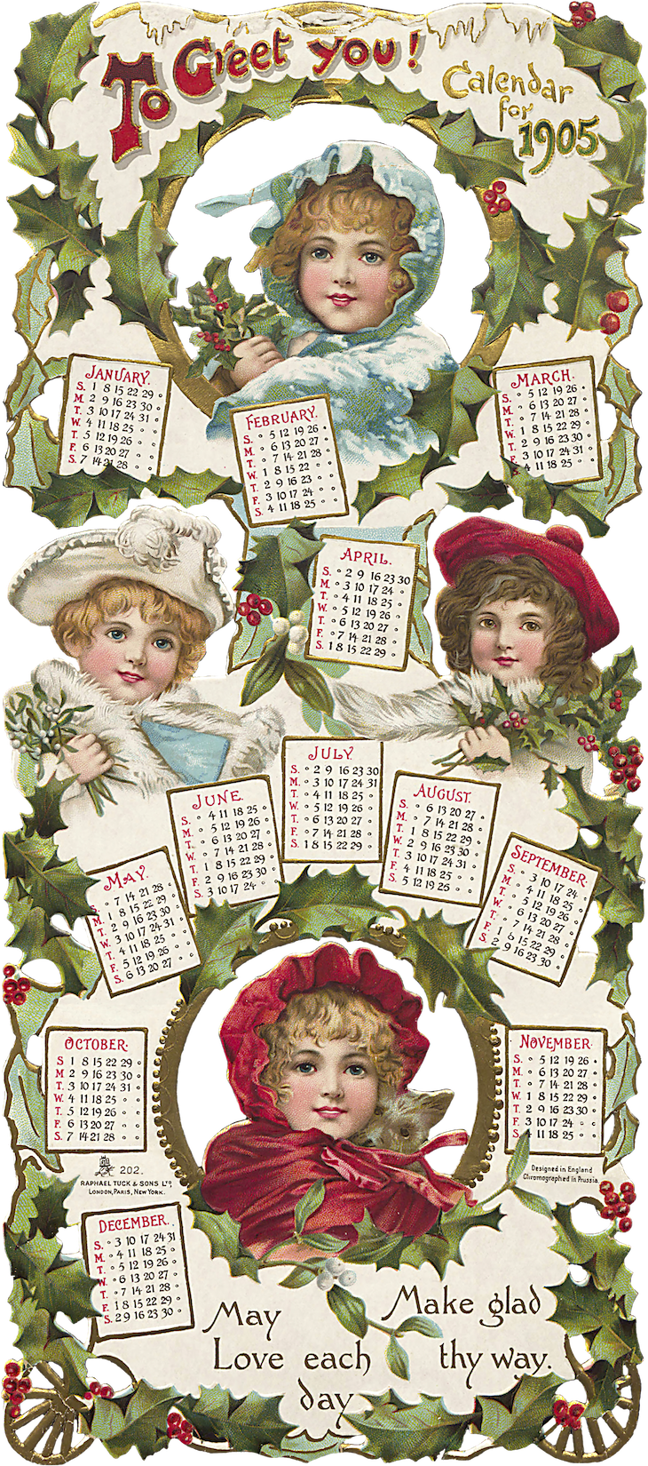 Wings of Whimsy: To Greet You Christmas Calendar 1905 #vintage #ephemera #freebie #printable #calendar