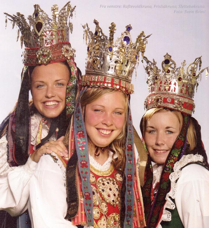 """Wings of Whimsy: All 3 Traditional Norwegian Bridal Crowns from Hornindal, Nordfjord - Raftevoldpyntet, Frislidpyntet & Slettebøpyntet. Photo from """"Brudekroner fra Nordfjord"""" by Bendik Os."""