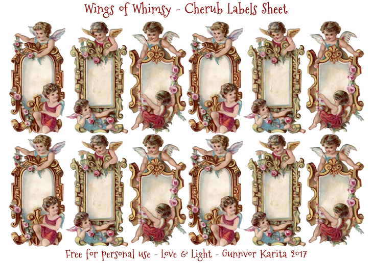 Wings of Whimsy: Little Cherubs Label Sheet #vintage #valentine #ephemera #freebie #valentine #cherubs #labels